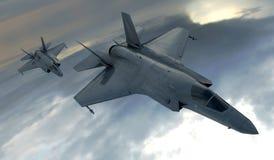 F 35, amerikansk militär kämpenivå Jet Plane Fluga i moln Vektor Illustrationer