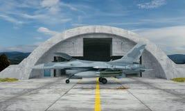 F 16, amerykański militarny samolot szturmowy Militarna baza Zdjęcia Royalty Free