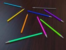 färgade mång- blyertspennor Arkivbilder