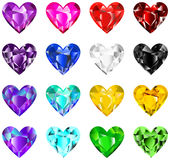 färgrik diamanthjärta Arkivbild