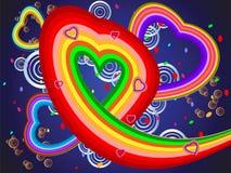 färgrik hjärtaillustration Royaltyfria Bilder