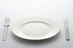 färgrik platta för matställegaffelkniv Royaltyfria Foton