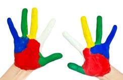 färgrika händer målade målarfärger Arkivbilder