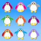 färgrika pingvinetiketter Royaltyfria Bilder