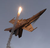 F-18 on back with flares Stock Image