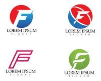 F beschriftet Logo- und Symbolvektorschablone Stockfoto