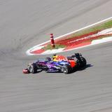 F1 Bieżny samochód:  Red Bull z Sebastian Vettel Obrazy Stock