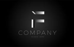 F black white silver letter logo design icon alphabet 3d Stock Photography