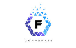 F Blue Hexagon Letter Logo with Triangles. F Blue Hexagon Letter Logo Design with Blue Mosaic Triangles Pattern royalty free illustration