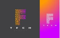 F-bokstav Logo Technology FörbindelseDots Letter Design Vector Royaltyfria Bilder