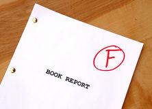 F Book Report. A book report on a desk with a poor grade Stock Photos