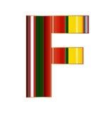 F brief in kleurrijke lijnen op witte achtergrond Stock Afbeelding