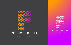 F Brief Logo Technology Verbonden Dots Letter Design Vector Royalty-vrije Stock Afbeeldingen