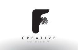 F Brushed Letter Logo. Black Brush Letters design with Brush str Royalty Free Stock Photos