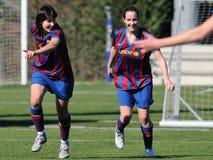 f C巴塞罗那女子的反对皇家社会队的橄榄球队戏剧 免版税库存图片