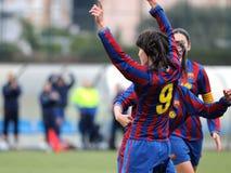 f C巴塞罗那女子的反对莱万特的橄榄球队戏剧 免版税库存图片