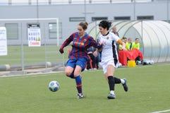 f C巴塞罗那女子的反对莱万特的橄榄球队戏剧 免版税图库摄影