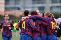 f C巴塞罗那女子的反对莱万特的橄榄球队戏剧 库存图片