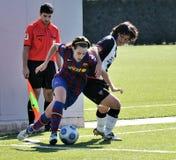 f C巴塞罗那女子的橄榄球队球员,反对莱万特的戏剧 免版税图库摄影