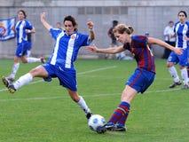 f C Barcelona kobiet drużyny futbolowej sztuka przeciw RCDE Espanyol Fotografia Stock