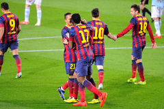 F.C. Barcelona players celebrate a goal at the Camp Nou on the Spanish League (F.C. Barcelona - Celta) Stock Photo
