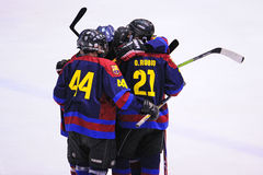 F.C. Barcelona players celebrate a goal in the Ice Hockey final Royalty Free Stock Images