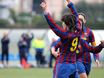 F.C Barcelona women's football team play against Levante Royalty Free Stock Images