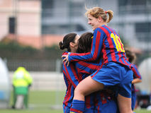 F.C Barcelona women's football team play against Levante Royalty Free Stock Image
