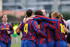 F.C Barcelona women's football team play against Levante Royalty Free Stock Photo