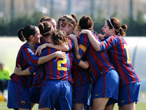 F.C Barcelona women's football team play against Rayo Vallecano. BARCELONA - MAR 14: F.C Barcelona women's football team play against Rayo Vallecano on March 14 Stock Images