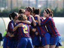 F.C Barcelona women's football team play against Rayo Vallecano Stock Photography