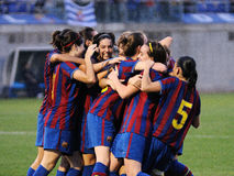 F.C Barcelona women's football team play against RCD Espanyol Stock Photo