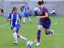 F.C Barcelona women's football team play against RCDE Espanyol Stock Photos