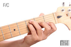 F/C guitar chord tutorial Royalty Free Stock Image