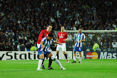 F.C.Porto - Manchester United (ENG). Hulk play to qualify to the 2009 UEFA Champions League Semi-Finals in Porto, Portugal Stock Images