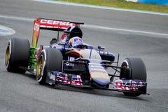 F1: Carlos Sainz Jr, team Toro Rosso. JEREZ DE LA FRONTERA, SPAIN - FEBRUARY 03: Carlos Sainz Jr, pilot of the team Toro Rosso in test Formula 1 in Circuito de Royalty Free Stock Images