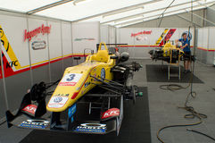F3 cars on jacks  in Monza Royalty Free Stock Photo