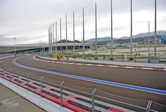 F1 circuit in Sochi Park overcast autumn day (Sochi, Krasnodar, Russia) Stock Photo