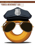 F&D #0011 - Police Donut. An isolated  of a cartoon donut wearing police's hat and sunglasses. Good for many application, especially for logo and character Stock Images