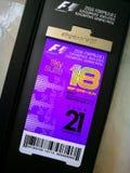 F1 de Grand Prixvip van Formule 1 kaartje stock foto's