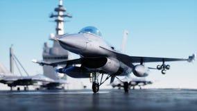 F-16 del jet, combatiente en portaaviones en el mar, océano Concepto de la guerra y del arma representación 3d Foto de archivo libre de regalías