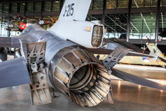 F16 detail. F16 fighter jet detail exhaust nozzle, brake parachute and airbrakes displayed in the National Military Museum Nationaal Militair Museum in Dutch on Royalty Free Stock Photo