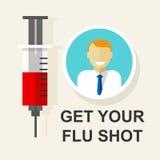 Få din influensaskottvaccinering den vaccinera vektorillustrationen Arkivbilder
