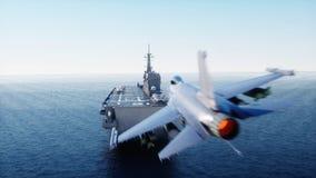 F16 do jato da aterrissagem no porta-aviões no oceano Forças armadas e conceito da guerra rendição 3d ilustração royalty free