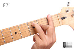 F dominant seventh guitar chord tutorial Royalty Free Stock Photography