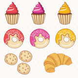 Donuts,cakes,croissant.Vector. Royalty Free Stock Photo