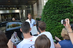F1 Driver Jenson Button. Is among his fans and giving autographs on July 24, 2016 in Budapest, Hungary Stock Images