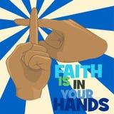 A fé está em seu conceito de projeto da cristandade das mãos Fotografia de Stock