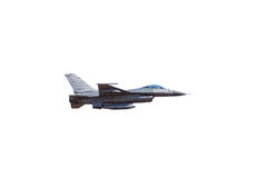 F16 falcon fighter jet. Flying on white background Royalty Free Stock Photos