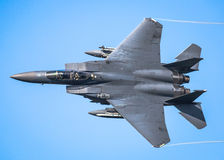 F15 fast jet. F-15 E model Eagle is an American twin-engine, all-weather tactical fighter jet designed by McDonnell Douglas to gain and maintain air superiority Royalty Free Stock Images
